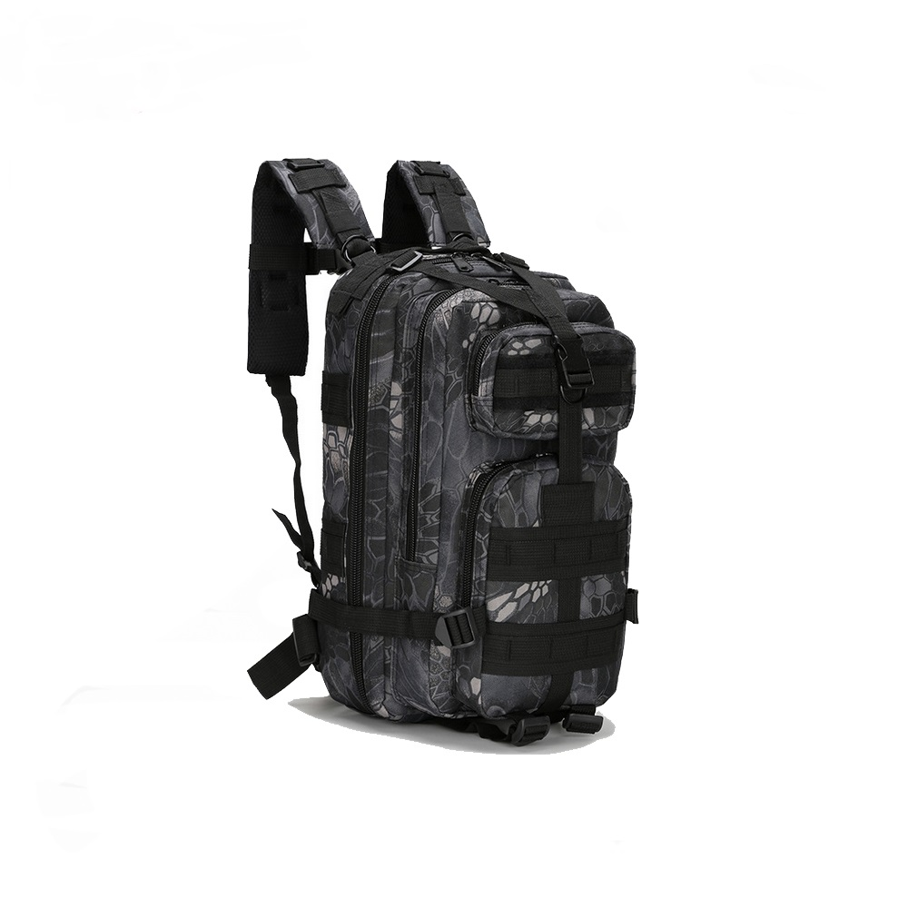 A&M 600 D Trekking Back Pack - Black /Grey Camo