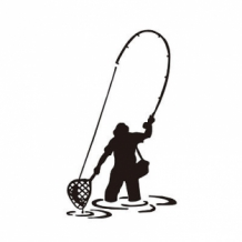 Sticker Fly Fishing 15 x 10 cm Black