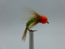 Size 16 Tungsten - Fl Orange Caddis Green  - Barbless