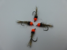 Size 14 Tungsten - Hare,s Ear Fluo Orange - Barbless