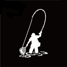 Fly Fishing Sticker 15 x 10 cm Silver
