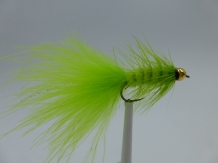 Size 10 Wooly Bugger Chartreuse Bead Head  Barbless