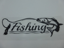 Sticker Fishing 15 x 6  cm Black