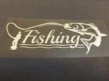 Sticker Fishing 15 x 6  cm Silver