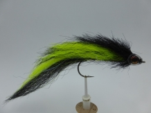 Size 6/0 A&M Pike Streamer Fluo Yellow/Black Flash